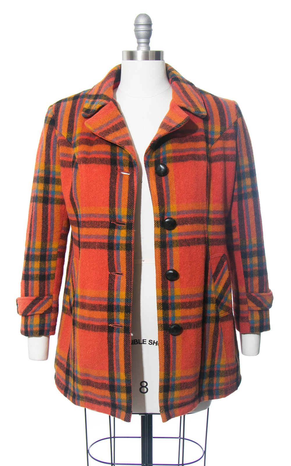 Vintage 1970s Coat | 70s Orange Plaid Pea Coat Short Warm Winter Jacket (medium)