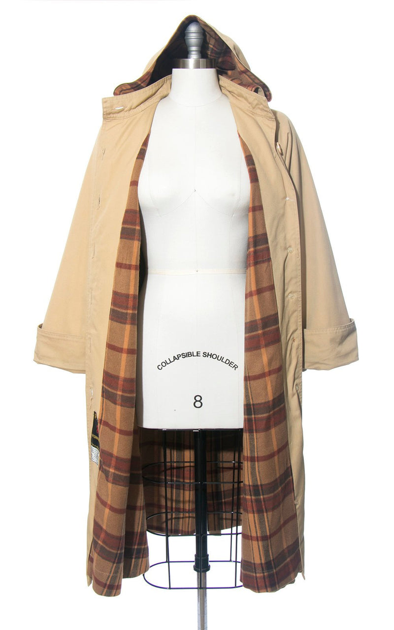 Vintage 1970s Trench Coat | 70s Hooded Plaid Flannel Lined Tan Camel Belted Rain Jacket (medium)