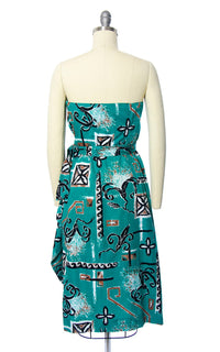 Vintage 1950s Sarong Dress | 50s ALFRED SHAHEEN Hawaiian Novelty Print Floral Cotton Teal Strapless Wiggle Wrap Tiki Sundress (small)
