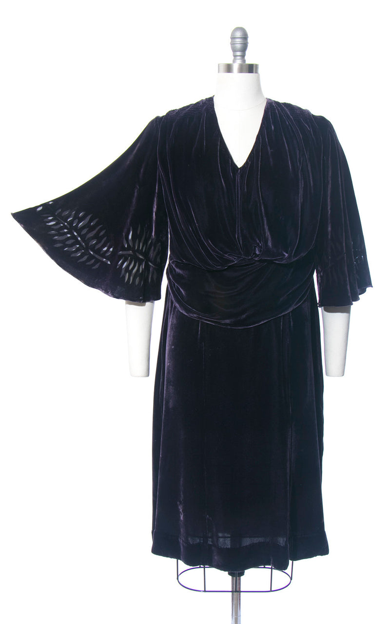 Vintage 1930s Dress | 30s Silk Velvet Sheer Leaf Burnout Dramatic Butterfly Sleeve Dark Blue Purple Formal Evening Gown (medium/large)