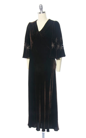 Vintage 1930s Dress | 30s Brown Silk Velvet Rhinestone Sheer Burnout Stars Dramatic Butterfly Sleeve Formal Evening Gown (small/medium)