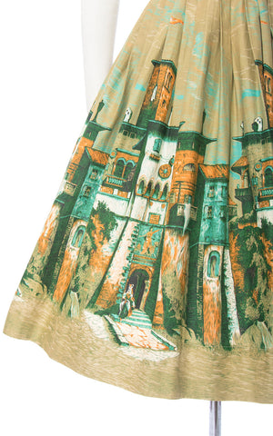 Vintage 1950s Skirt | 50s Novelty Border Print Cotton European Village Scenic Olive Green Full Swing Skirt (small)