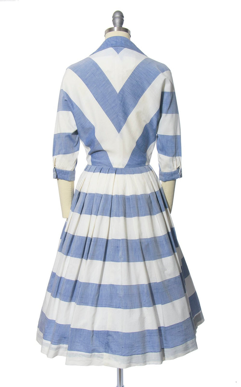 Vintage 1950s Dress | 50s Striped Blue White Cotton Chambray Shirtwaist Full Skirt Shirt Dress (x-small)