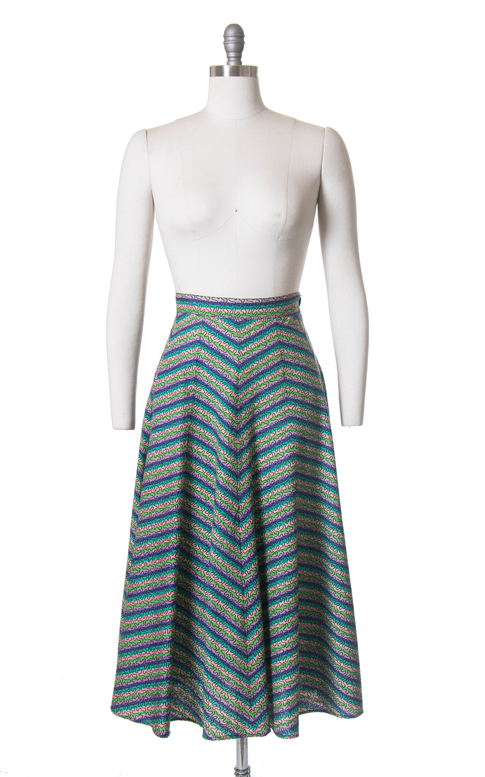 Vintage 1950s Skirt | 50s Rainbow Chevron Striped Soutache Flocked Full Skirt (small)