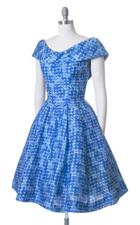Vintage 1950s Dress | 50s GIGI YOUNG Silk Blue Rose Floral Print Full Skirt Party Dress with Petticoat (medium)