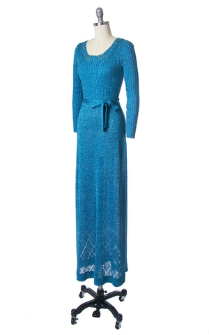 Vintage 1970s Dress | 70s WENJILLI Metallic Blue Knit Sparkly Lurex Party Full Length Maxi Dress (x-small/small/medium)