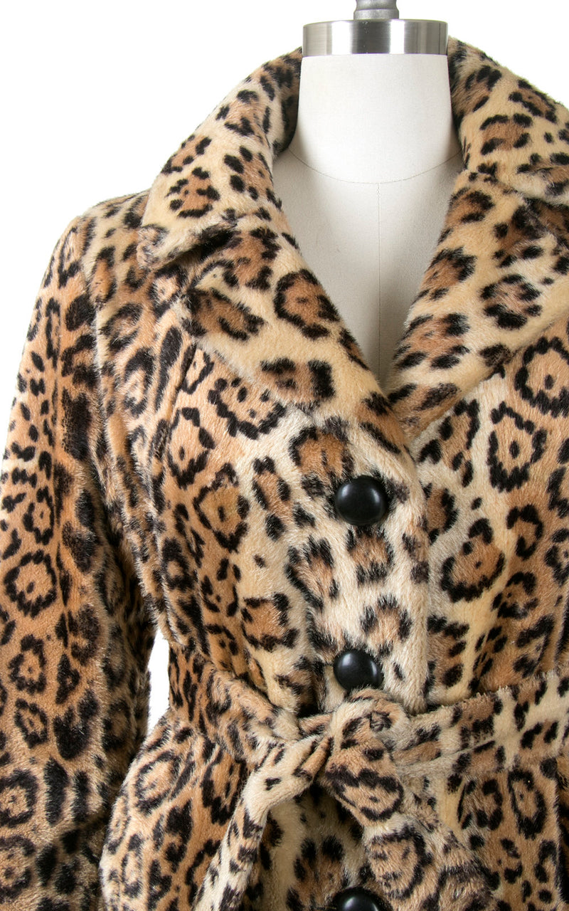 Vintage 1960s Coat | 60s Leopard Print Faux Fur Belted Animal Print Short Winter Jacket (small/medium)