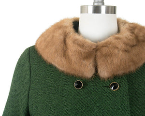 Vintage 1960s Coat | 60s Forest Green Wool Brown Mink Fur Collar Double Breasted Winter Pea Coat (medium)