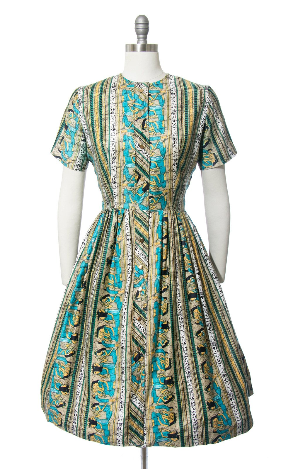 Vintage 1950s 1960s Dress | 50s 60s Egyptian Novelty Print Cotton Shirt Dress Full Skirt Shirtwaist Day Dress (medium/large)