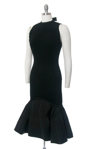 Vintage 1950s Dress | 50s PAULINE TRIGÉRE Black Wool Taffeta Mermaid Flounce Hem Open Back Bombshell Designer Cocktail Party Gown (medium)