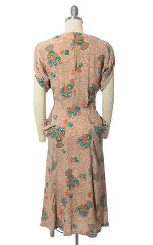 RARE Vintage 1940s Dress | 40s Spiderweb Gems Novelty Print Rayon Crepe Nude Cocktail Evening Dress w/ Pockets (small)