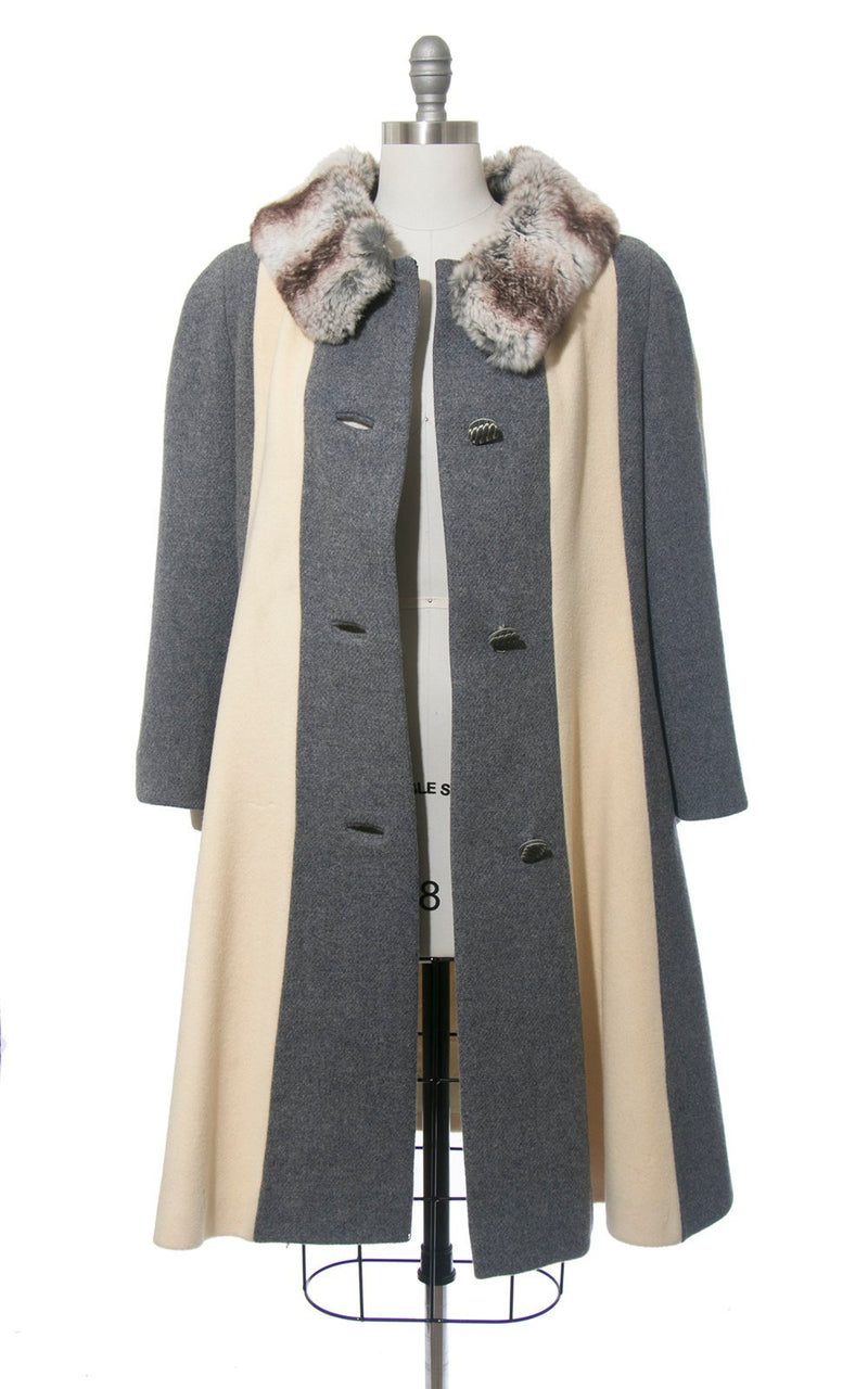 Vintage 1960s Coat | 60s LILLI ANN Fur Collar Striped Wool Princess Coat Grey Gray Cream Winter Swing Coat (medium/large)