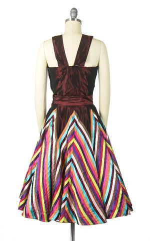 Vintage 1950s Dress Set | 50s Rainbow Chevron Striped Taffeta Circle Skirt Sleeveless Top Holiday Party Dress (small)