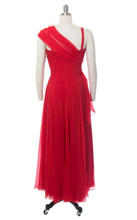 Vintage 1950s Dress | 50s Red Silk Chiffon Pleated Party Dress Full Length Holiday Evening Gown with Waterfall Sash (small)