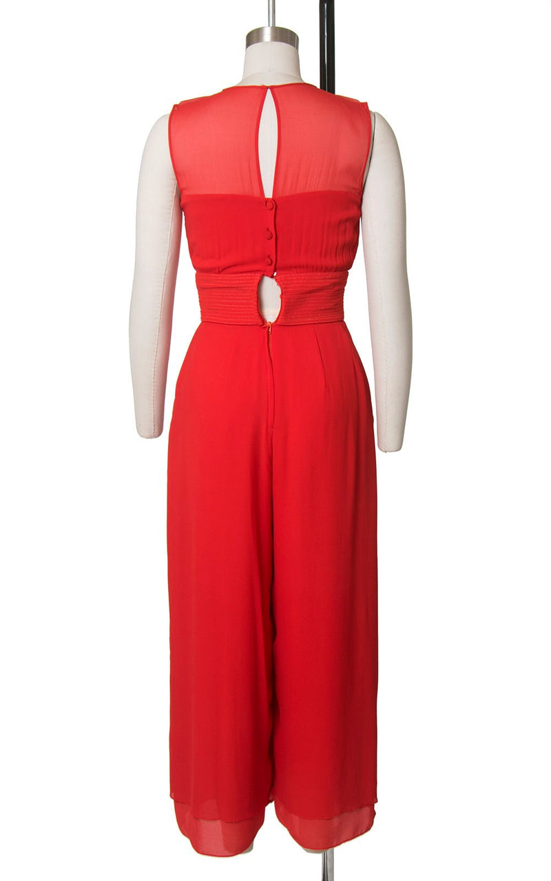 Vintage 1980s Jumpsuit | 80s Red Silk Chiffon Wide Leg Palazzo Pants Gold Stitching Bow Jumpsuit with Pockets (x-small)