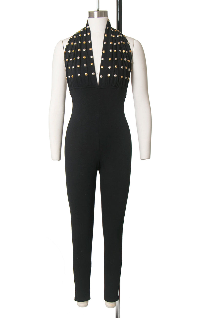 Vintage 1980s Jumpsuit | 80s Metal Studded Halter Black Stretchy Bodycon Open Back Catsuit (x-small/small)