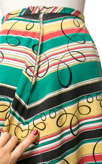 Vintage 1940s Skirt | 40s Striped Chevron Swirl Printed Colorful Cotton Full Swing Skirt (small)