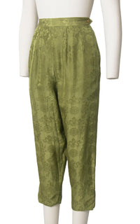 Vintage 1950s 1960s Capri Pants | 50s 60s Silk Asian Jacquard Olive Green High Waisted Cigarette Pants (small)