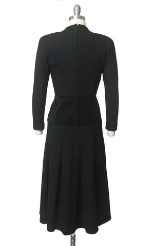 Vintage 1980s Dress | 80s does 1940s Black Wool Suede Long Sleeve Full Skirt Minimalist Midi Dress (small)