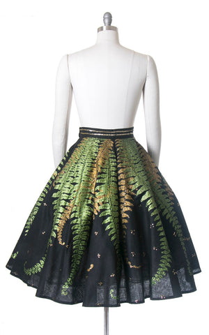 RARE Vintage 1950s Circle Skirt | 50s Mexican Sequin Fern Novelty Print Black Cotton Hand Painted Souvenir Skirt (small)