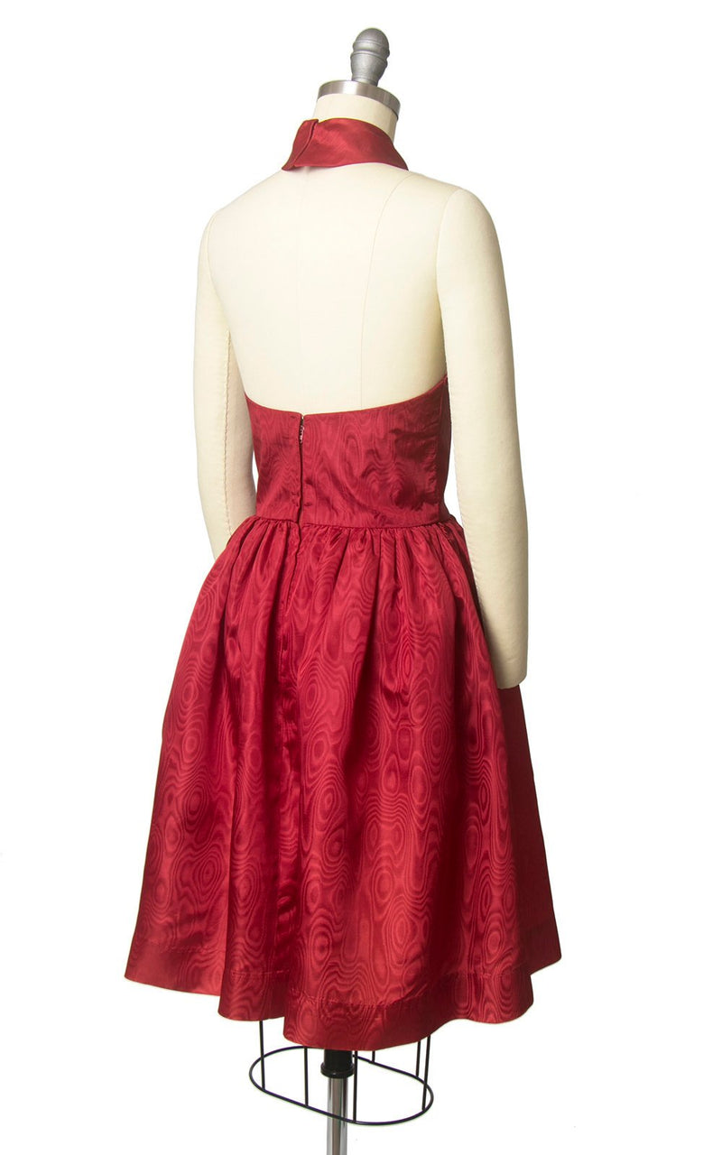 Vintage 1960s Dress | 60s Red Satin Halter Bow Open Back Full Skirt Party Dress with Pockets (x-small)