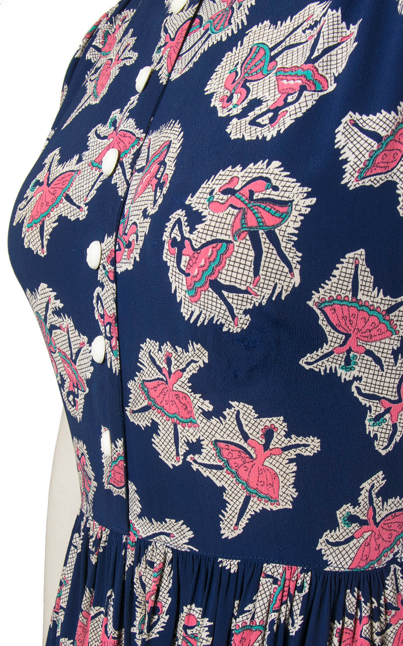 1940s Dancers Delight Dress Small Vintage 40s Midnight Blue With Pink and White Novelty Print Dancing Rayon Crepe Frock wLace Collar