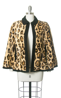 Vintage 1950s 1960s Cape | 50s 60s REVERSIBLE Leopard Print Faux Fur and Black Wool Short Capelet (small/medium)