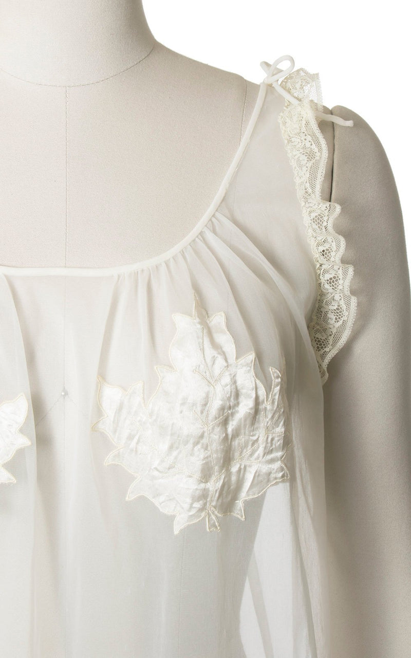 "RARE Vintage 1960s Babydoll Nightie | 60s CHEVETTE ""Eve's Leaves"" White Nylon Sheer Peignoir (small/medium)"