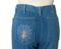 Vintage 1970s Bell Bottom Jeans | 70s WRANGLER Spiderweb Spider Embroidered Medium Blue Denim Mid Rise Pants (x-small/small)