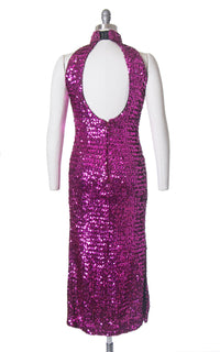 Vintage 1980s Dress | 80s Sequin Sparkly Purple Pink Halter Open Back Full Length Burlesque Holiday Party Dress (small/medium)