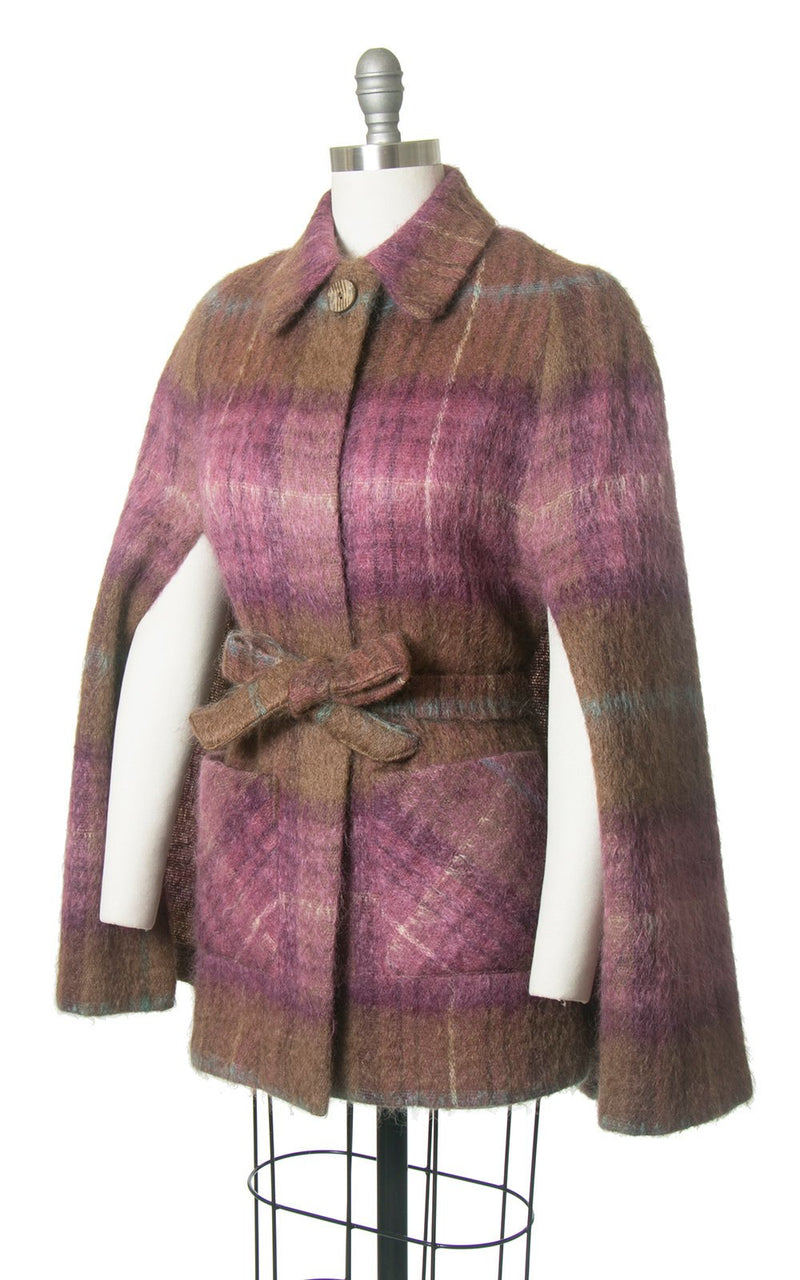 Vintage 1970s Cape | 70s ANDREW STEWART Scottish Plaid Mohair Wool Purple Brown Belted Tartan Poncho Coat (small/medium)
