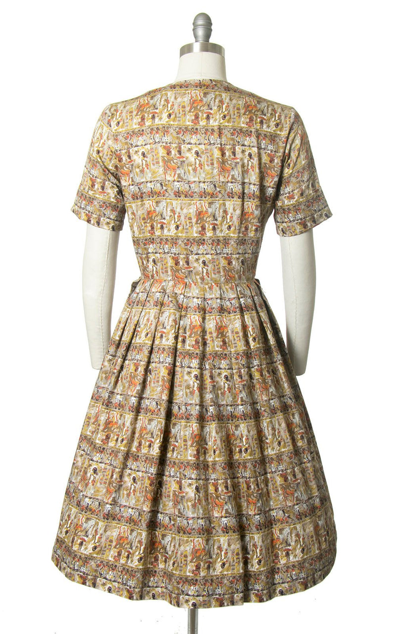 Vintage 1950s Dress | 50s Egyptian Novelty Print Cotton Shirt Dress Full Skirt Shirtwaist Day Dress (medium)