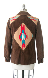 Vintage 1970s Jacket | 70s MS PIONEER Chimayo Wool Brown Suede Southwestern Hand-Woven Blanket Bohemian Coat (medium)