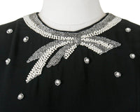 Vintage 1950s Blouse | 50s Beaded Bow Black Rayon Cropped Holiday Cocktail Party Top (medium)