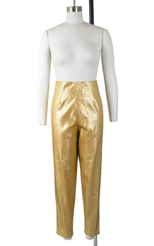 Vintage 1950s Pants | 50s Metallic Gold Lamé Cigarette Pants Sparkly High Waisted Stretchy Capris (medium)