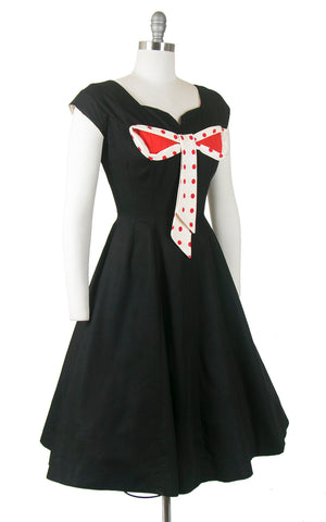 Vintage 1950s Dress | 50s MISS ELLIETTE Polka Dot Bow Cotton Black Red Full Skirt Holiday Party Day Dress (small)