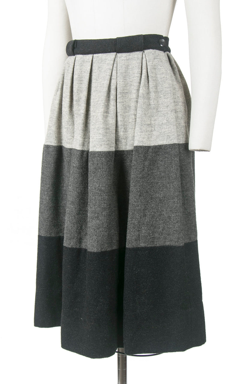 Vintage 1950s Skirt | 50s Grey Wool Ombré Color Block Striped Gradient Pleated Full Swing Skirt (small)