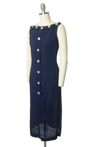Vintage 1950s Dress | 50s Navy Blue Cotton Sundress Button Up Wiggle Sheath Day Dress (small)