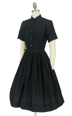 Vintage 1950s Dress | 50s Black Silk Shirt Dress Full Skirt Shirtwaist Day Dress (x-small)