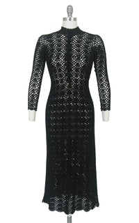 Vintage 1970s Sweater Dress | 70s Black Crochet See Through Sheer Long Sleeve Witchy Boho Midi Dress (small)