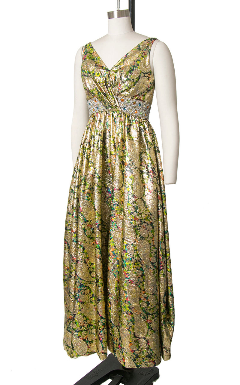Vintage 1960s Palazzo Jumpsuit | 60s Metallic Gold Paisley Brocade Wide Leg Pants Sparkly Rhinestones Maxi Dress Jumpsuit (x-small)