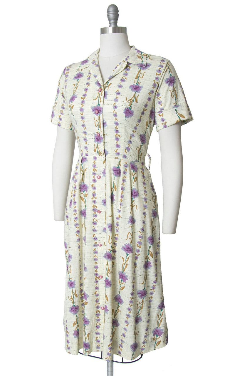 Vintage 1940s Dress | 40s Carnation Floral Print Cotton Shirt Dress Cream Purple Striped Shirtwaist Day Dress (medium)