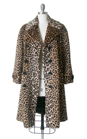 Vintage 1960s Coat | 60s Leopard Print Faux Fur Double Breasted Jacket Animal Print Long Winter Peacoat (medium/large)