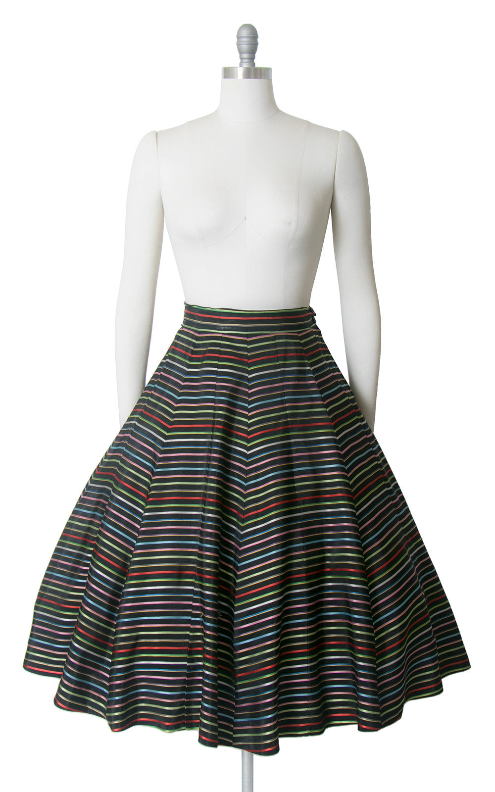 Vintage 1950s Skirt | 50s Rainbow Striped Rayon Taffeta Full Party Skirt (medium)