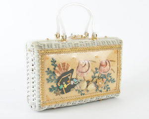 Vintage 1960s Box Purse | 60s ATLAS Novelty Wicker Fish Seashell Shell White Under The Sea Handbag