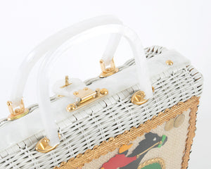 Vintage 1960s Box Purse | 60s ATLAS Equestrian Horse Racing Novelty White Lucite Wicker Handbag