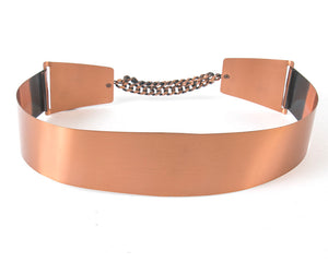 Vintage 1950s Cinch Belt | 50s Copper Metal Chain Wide High Waist Belt (small/medium)