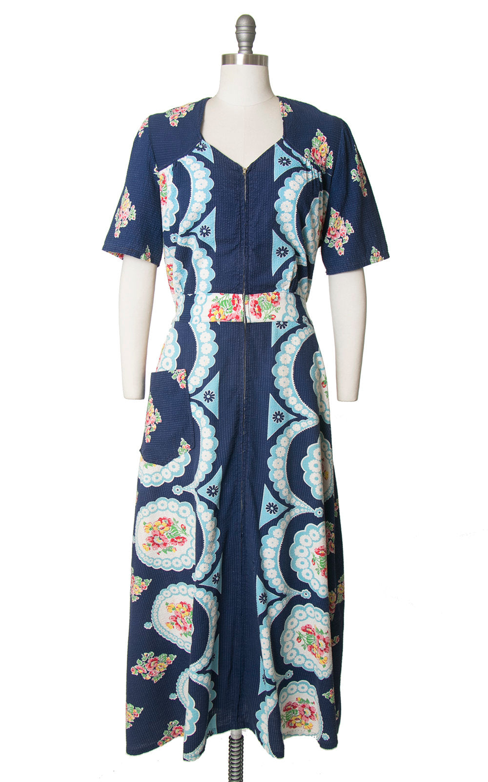 Vintage 1940s Dress | 40s Floral Cotton Dressing Gown Navy Blue Maxi Day House Dress (large/x-large)