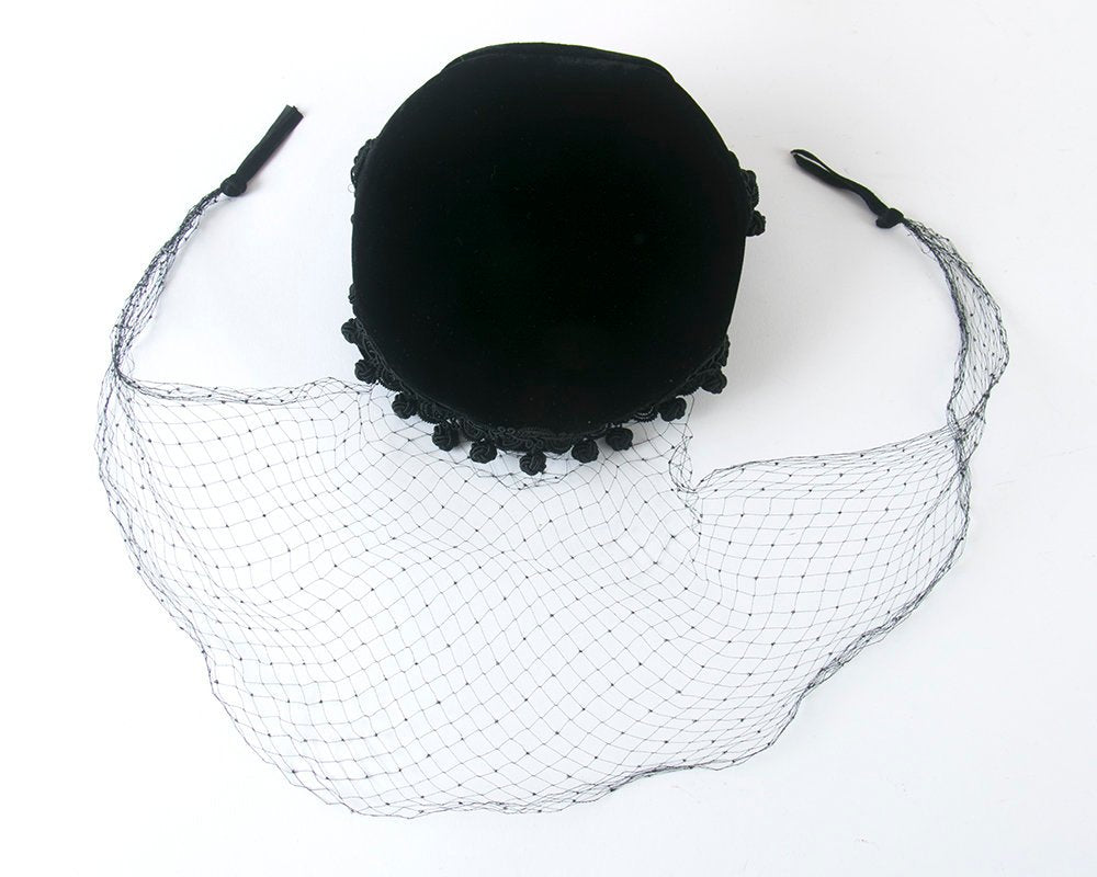 Vintage 1950s 1960s Hat | 50s 60s Black Velvet Dingle Balls Veiled Formal Cocktail Hat with Netting