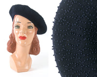 Vintage 1940s 1950s Hat | 40s 50s French Knot Beret Navy Blue Wool Tam